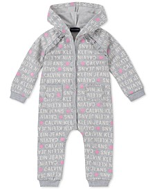 Baby Girls Logo-Print Hooded Coverall