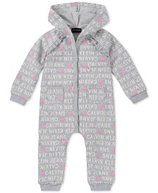 Calvin Klein Baby Girls Logo-Print Hooded Coverall