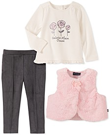 Baby Girls 3-Pc. Faux-Fur Vest, Floral Top & Pants Set