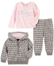 Calvin Klein Baby Girls 3-Pc. Fleece Hoodie, Long Sleeve Top & Pants Set