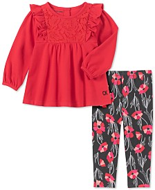 Calvin Klein 2-Pc. Baby Girls Lace Tunic & Poppy Leggings Set