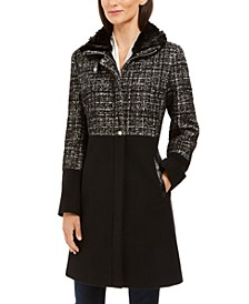 Tweed Faux-Fur-Collar Coat