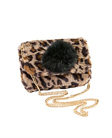 Faux Fur Bag with Pom Pom Detail