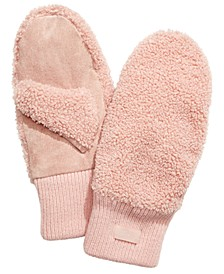 Faux-Shearling Mittens with Knit Cuff