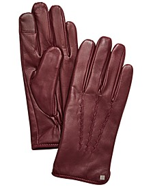 Whipstitched Points Touchscreen Leather Gloves