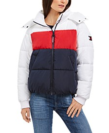 Hooded Colorblocked Puffer Coat