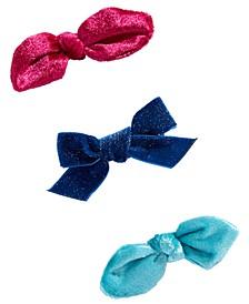 Little & Big Girls 3-Pk. Velvet Bow Salon Clips