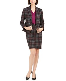 Plaid Jacket, V-Neck Top, & Pencil Skirt