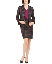 Nine West Plaid Jacket, V-Neck Top, & Pencil Skirt
