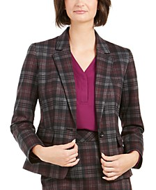 1-Button Plaid Blazer