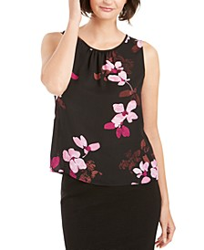 Floral Printed Ruched-Neck Top