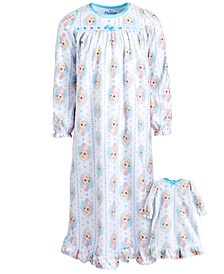 Little & Big Girls 2-Pc. Frozen Nightgown & Doll Nightgown Set