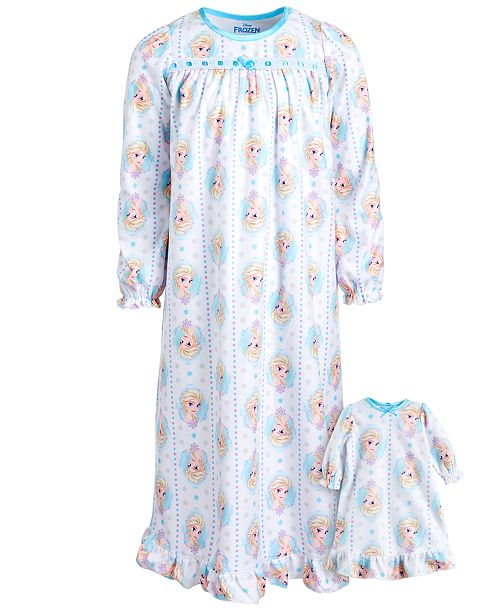 AME Little & Big Girls 2-Pc. Frozen Nightgown & Doll Nightgown Set