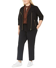 Trendy Plus Size Moto Jacket, Keyhole Mock-Neck Top, & Ankle Pants, Created For Macy's