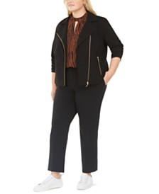 Bar III Plus Size Moto Jacket, Keyhole Mock-Neck Top, & Ankle Pants, Created For Macy's