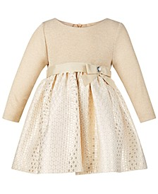Baby Girls Knit Brocade Metallic Dress