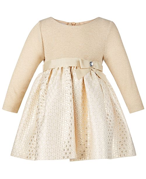 Bonnie Baby Baby Girls Knit Brocade Metallic Dress
