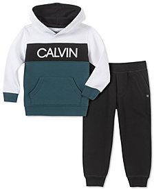 Calvin Klein Jeans Toddler Boys 2-Pc. Colorblocked Logo Hoodie & Fleece Sweatpants Set