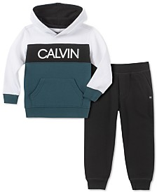 Calvin Klein Jeans Little Boys 2-Pc. Colorblocked Logo Hoodie & Fleece Sweatpants Set