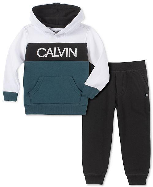 Calvin Klein Little Boys 2-Pc. Colorblocked Logo Hoodie & Fleece Sweatpants Set