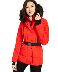 Michael Michael Kors Active Belted Faux-Fur-Trim Puffer Coat