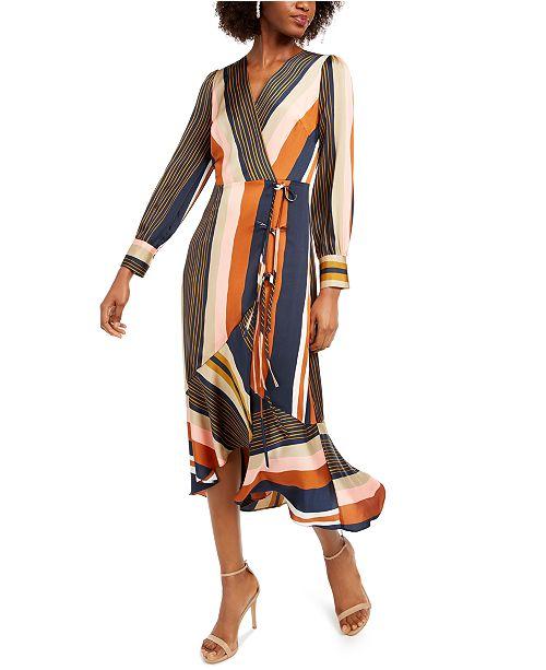 foxiedox Striped Faux-Wrap Dress