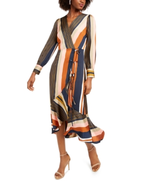 Dial up some bold style in this gorgeous faux-wrap dress from foxiedox, designed with a tie at the waist and a ruffled high-low hem.