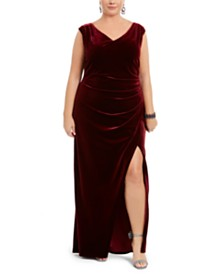 Betsy & Adam Plus Size Ruched Velvet Gown