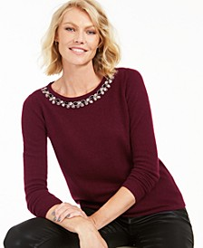 Cashmere Embellished-Neck Sweater, Regular & Petite, Created for Macy's