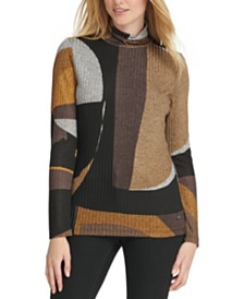 DKNY Printed Ribbed Turtleneck Top