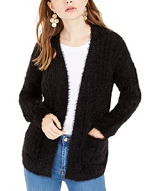 Juniors' Fuzzy Rib-Knit Cardigan