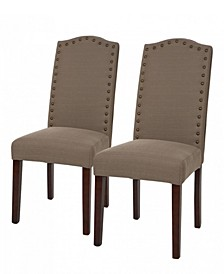Tan Fabric Dining Chair with Studded Decoration Set of 2