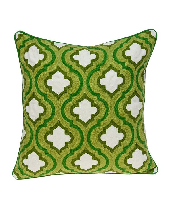 Parkland Collection Gamma Traditional Green and White Pillow Cover With Down Insert
