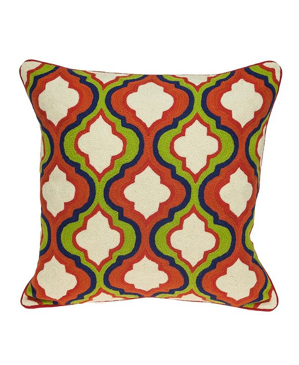 Parkland Collection Handmade Manak Traditional Multicolored Pillow Cover With Down Insert