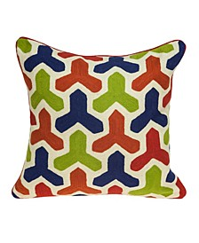 Handmade Canis Transitional Multicolored Pillow Cover with Polyester Insert