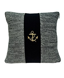 Ahoy Nautical Blue Pillow Cover With Down Insert