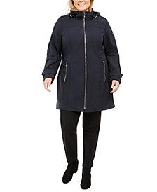 Michael Michael Kors Plus Size Hooded Raincoat, Created For Macy's