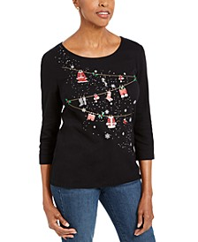 Petite Embellished Cotton Top, Created For Macy's
