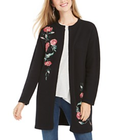 Style & Co Embroidered Sweater Jacket, Created For Macy's