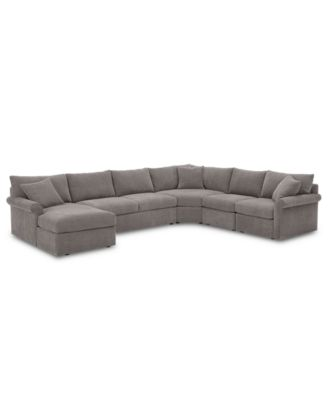 Wedport 5-Pc. Fabric Modular Chaise Sleeper Sectional Sofa with Wedge Corner Piece, Created for Macy's