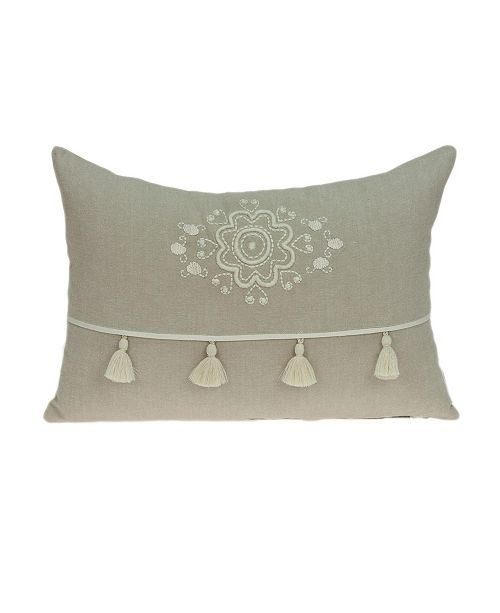 Parkland Collection Lea Transitional Beige Pillow Cover with Polyester Insert