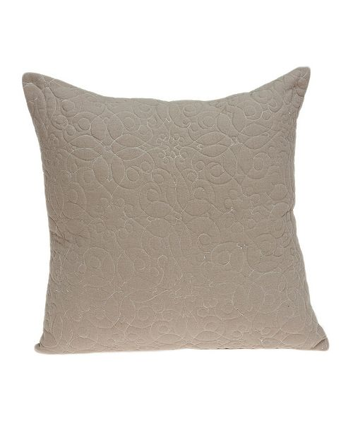 Parkland Collection Yogi Transitional Tan Pillow Cover with Polyester Insert