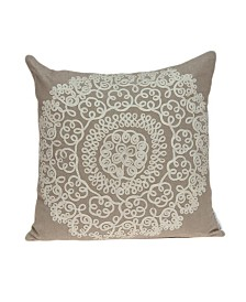 Parkland Collection Arlene Traditional Tan Pillow Cover With Poly Insert