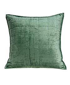 Agua Transitional Green Solid Quilted Pillow Cover