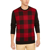 Club Room Mens Plaid Merino Wool Blend Sweater Deals