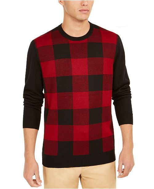 Club Room Men's Regular-Fit Colorblocked Plaid Sweater, Created For Macy's