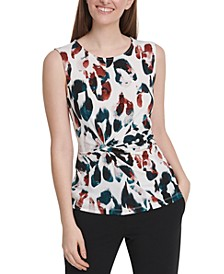 Petite Animal Printed Side-Knot Top