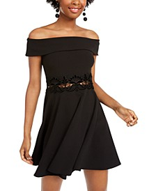 Juniors' Off-The-Shoulder Fit & Flare Dress