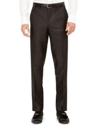 Orange Men's Slim-Fit Black Solid Suit Pants