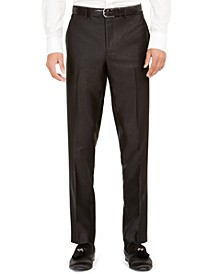 Orange Men's Slim-Fit Black Solid Suit Pants